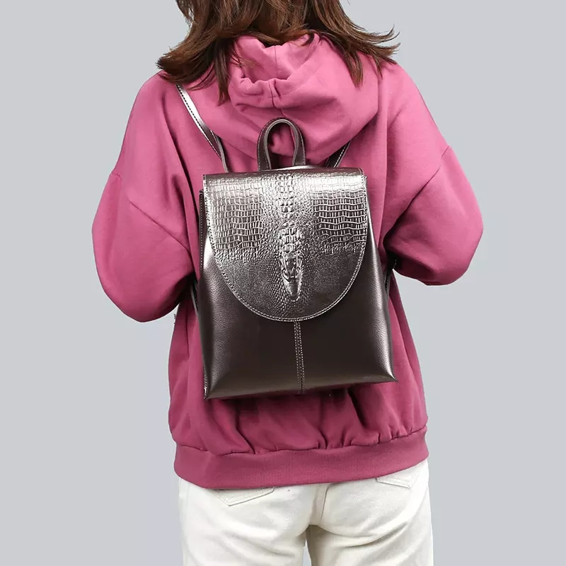 leather mini travel backpack for women in silver color